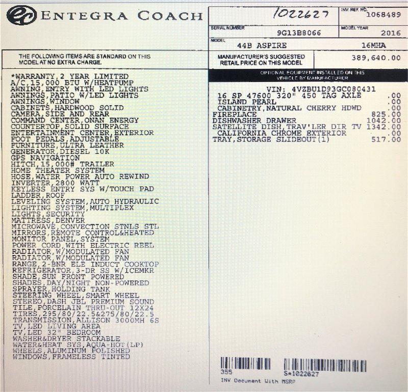 2016 Entegra Coach Aspire 44B