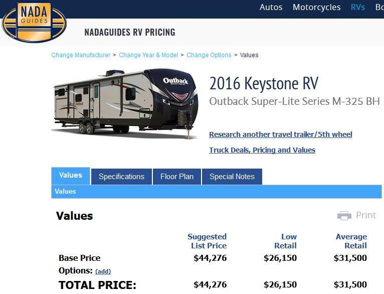 2016 Keystone Outback Ultra-Lite 325BH